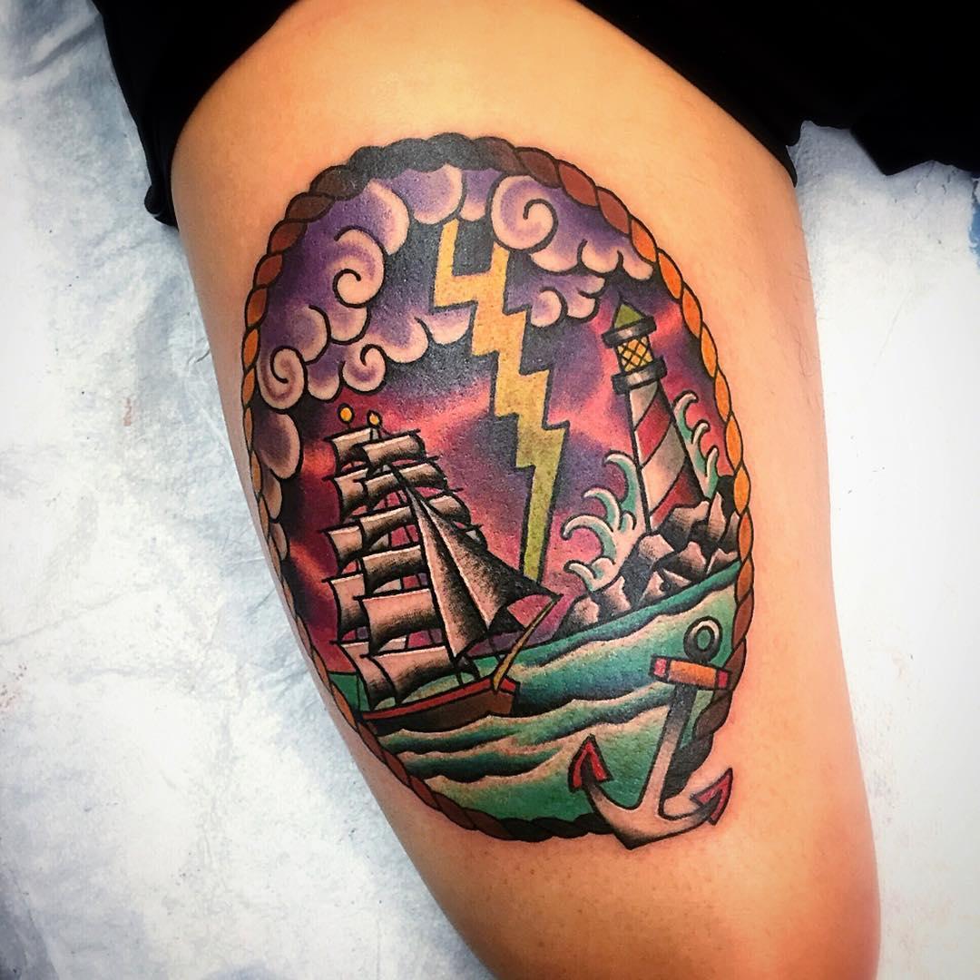 Lighthouse Thigh Tattoo