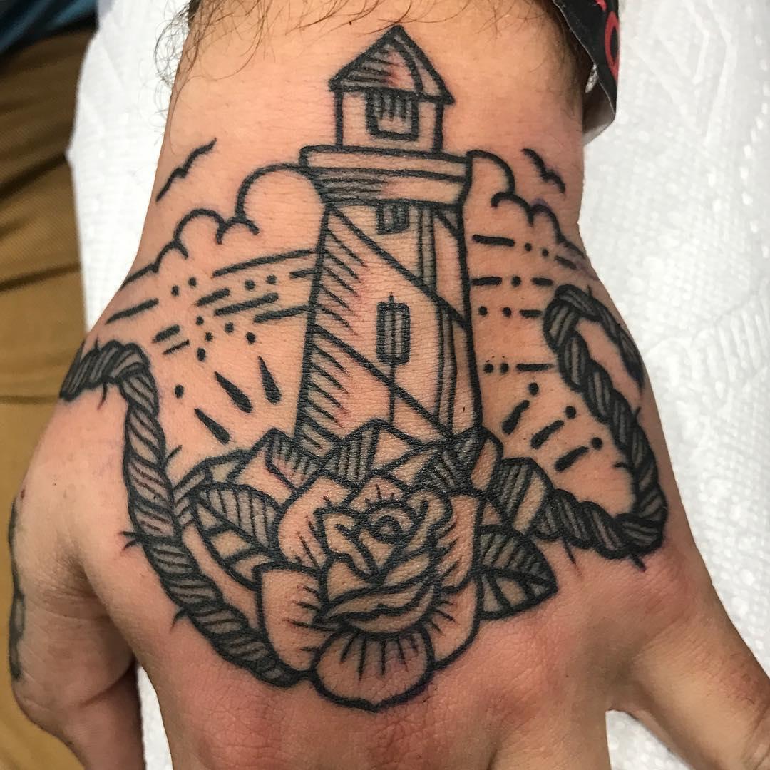 Lighthouse Hand Tattoo