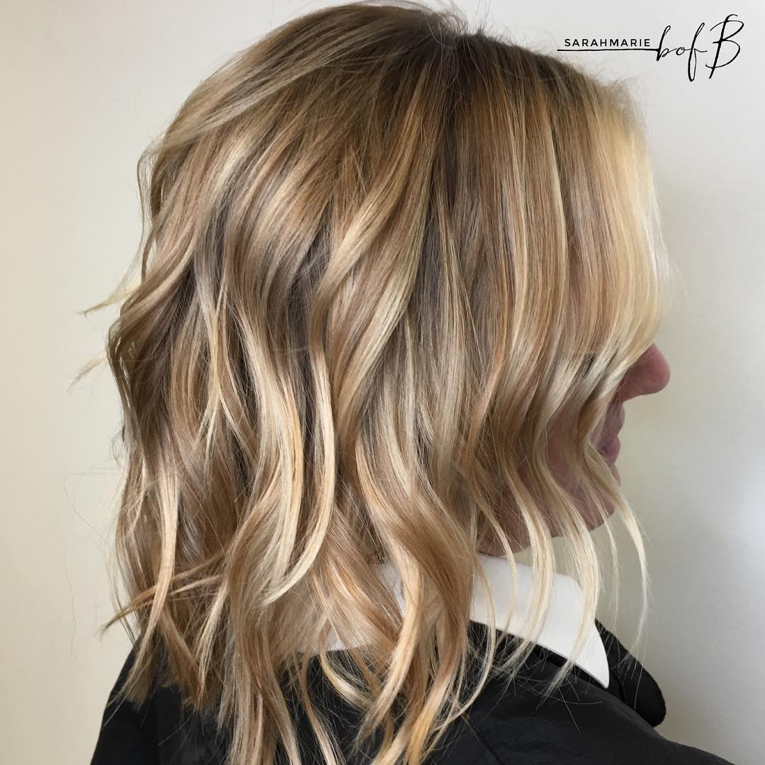 Lob blonde hair with lowlights