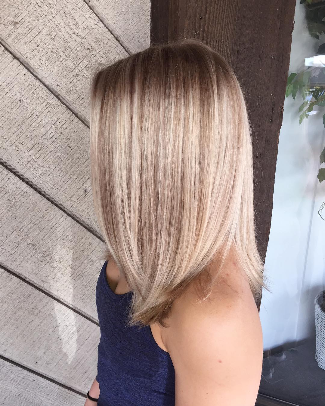 Light blonde hair with brown highlights