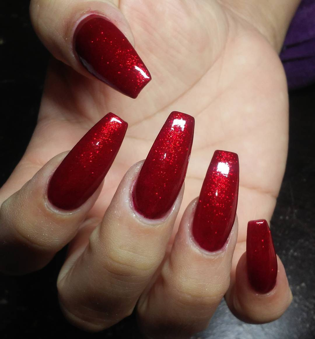 Bright red coffin nail designs