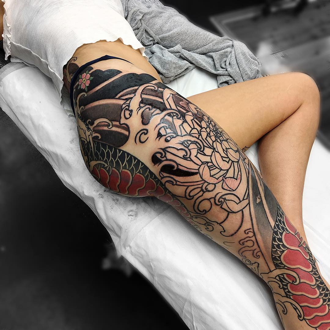 Full Leg Japanese Tattoo