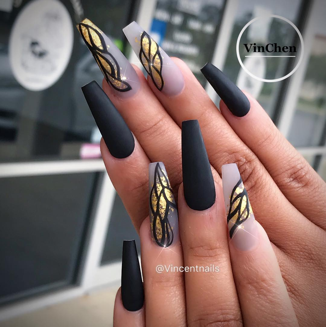 Gold & Black Nails