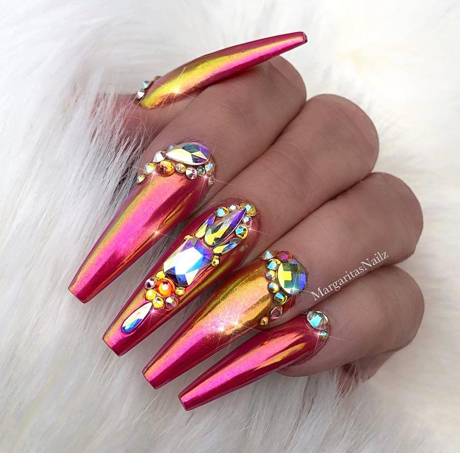 3D pink chrome nails