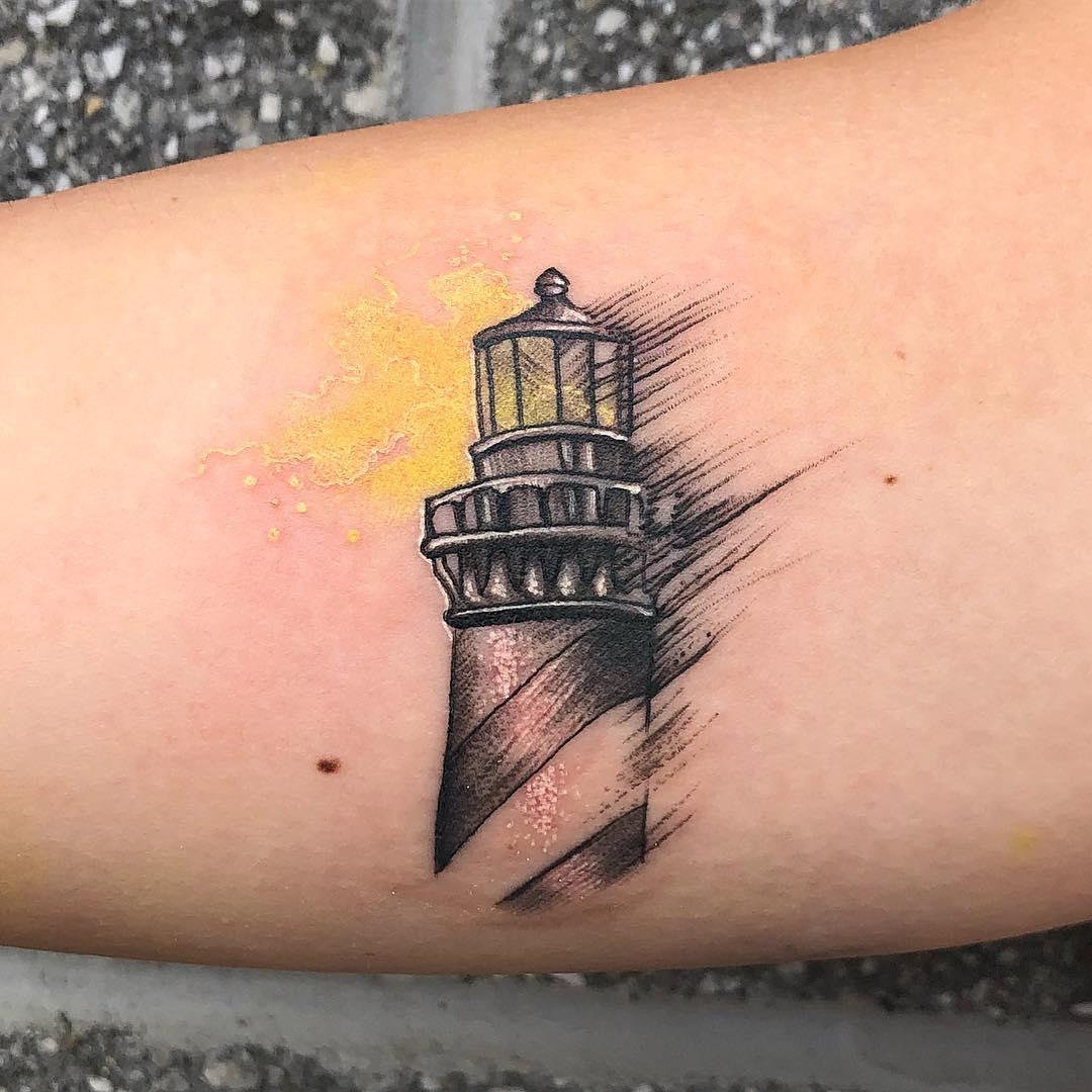 Brushed Lighthouse Tattoo