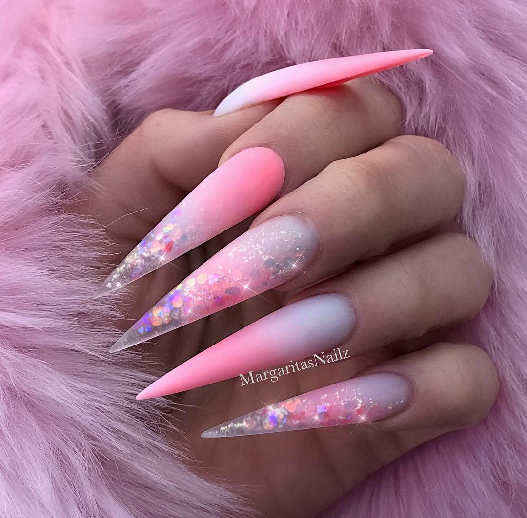 Ombre pink chrome nails
