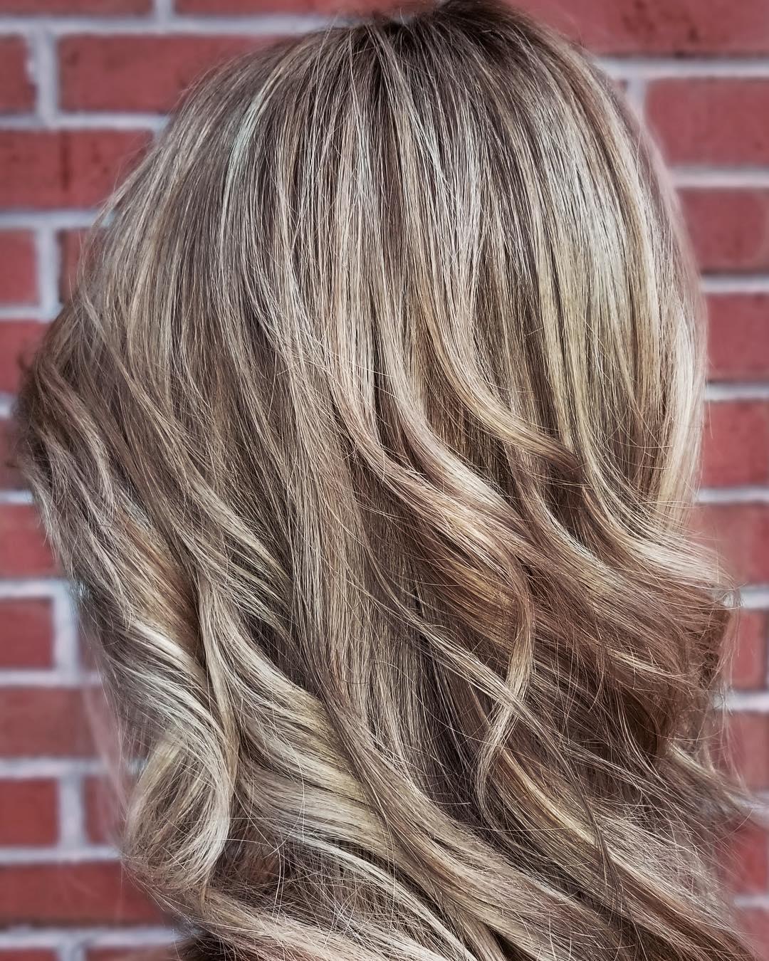 Brown lowlights on blonde hair
