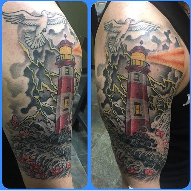 Colorful Lighthouse Shoulder Tattoo