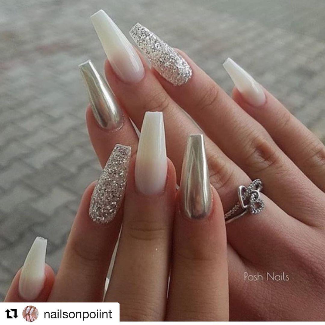 Metallic chrome coffin nail designs