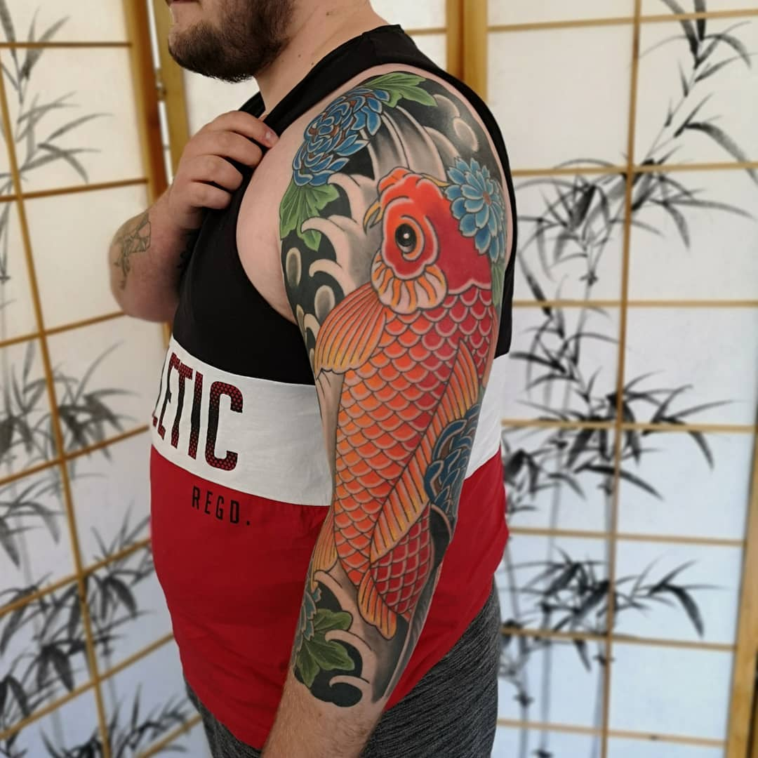 Orange Japanese Koi Fish Tattoo