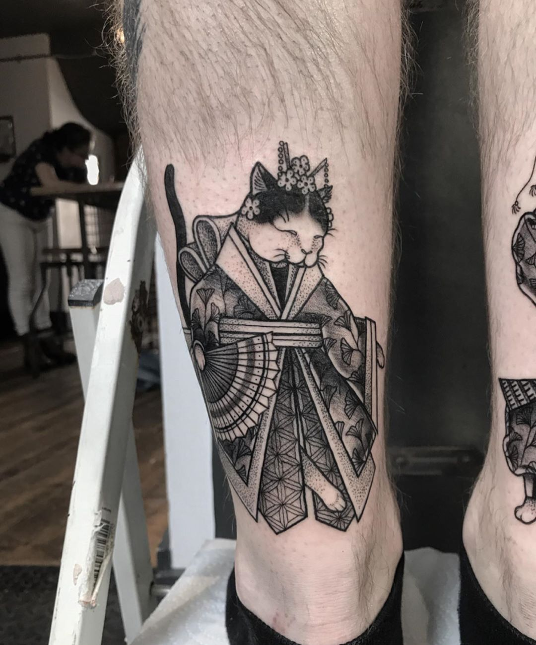 Japanese Tattoo of Cat in a Kimono