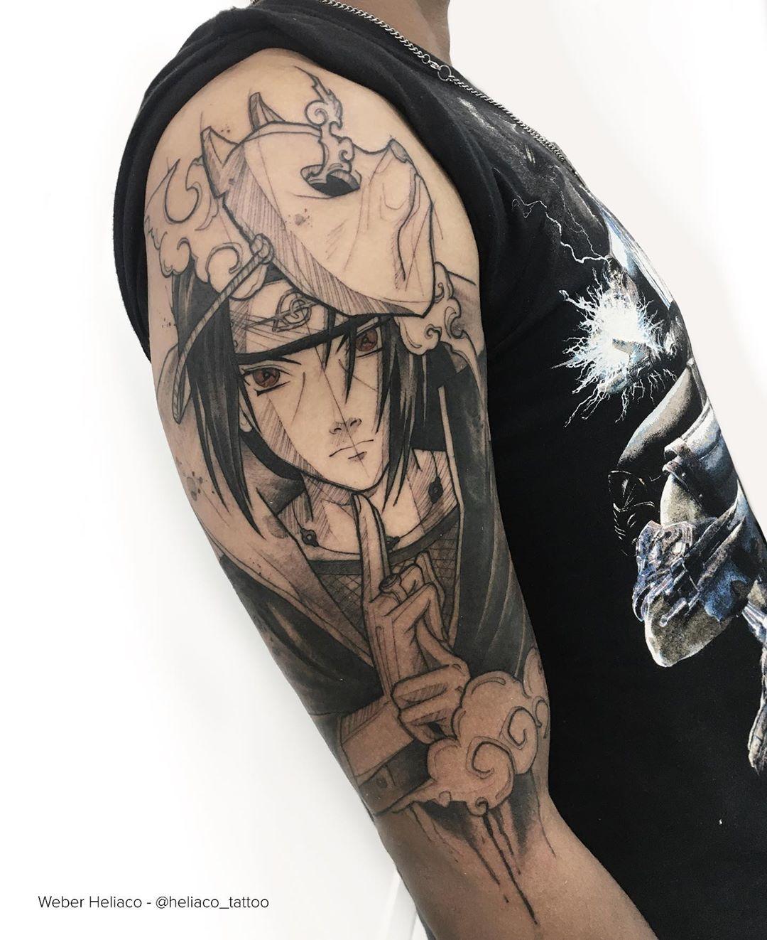 Japanese Anime Cat Mask Tattoo