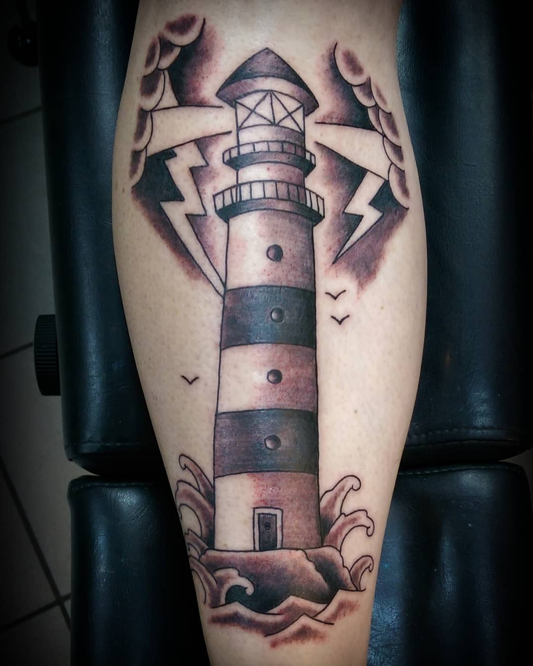 Lighthouse Leg Tattoo