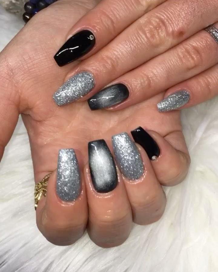 Black and Silver Nail Designs