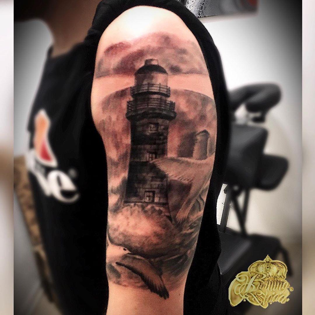 Lighthouse Full Arm Tattoo