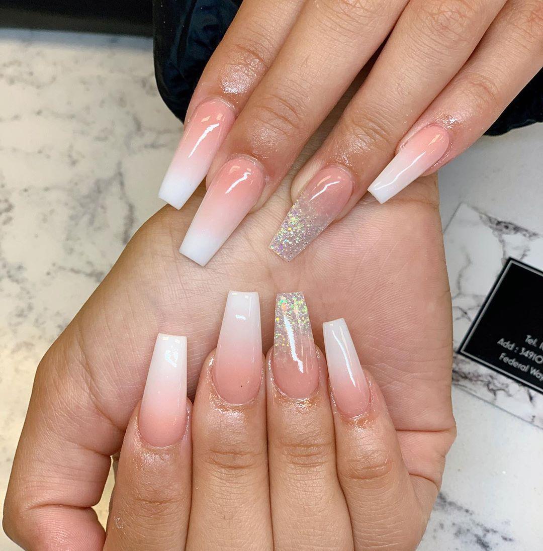 Glitter ombre coffin nail designs