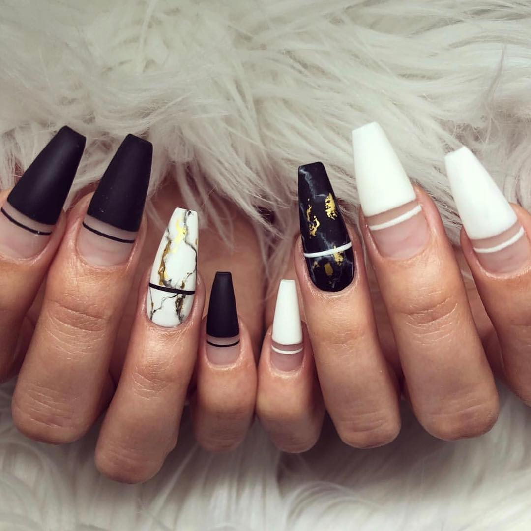 Updated 55 Classic Black And White Nails August 2020