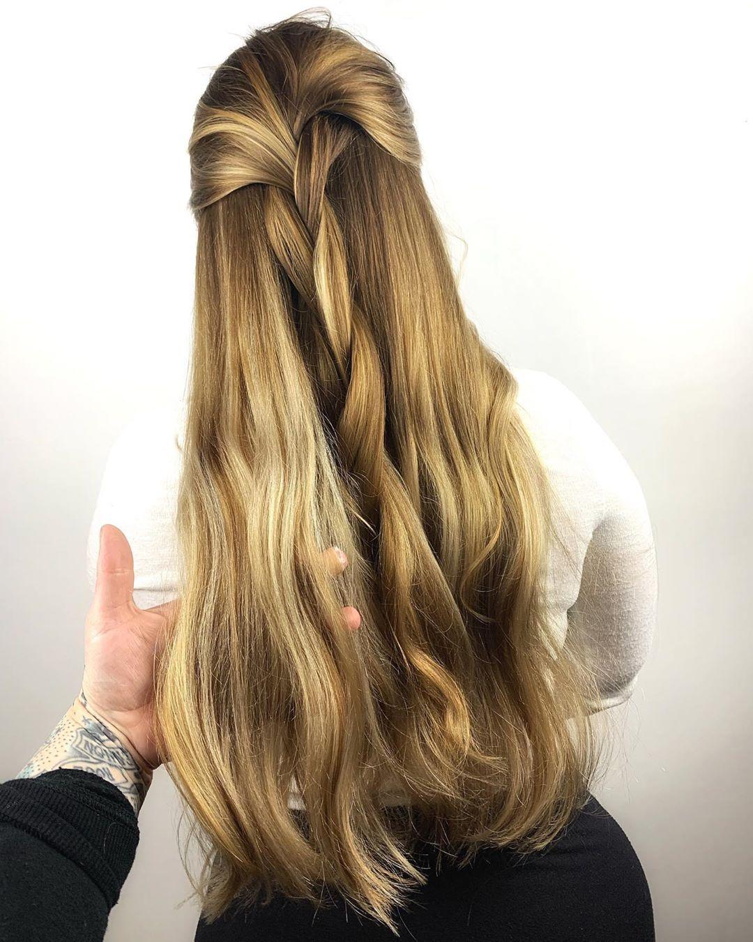 Braided hair with lowlights