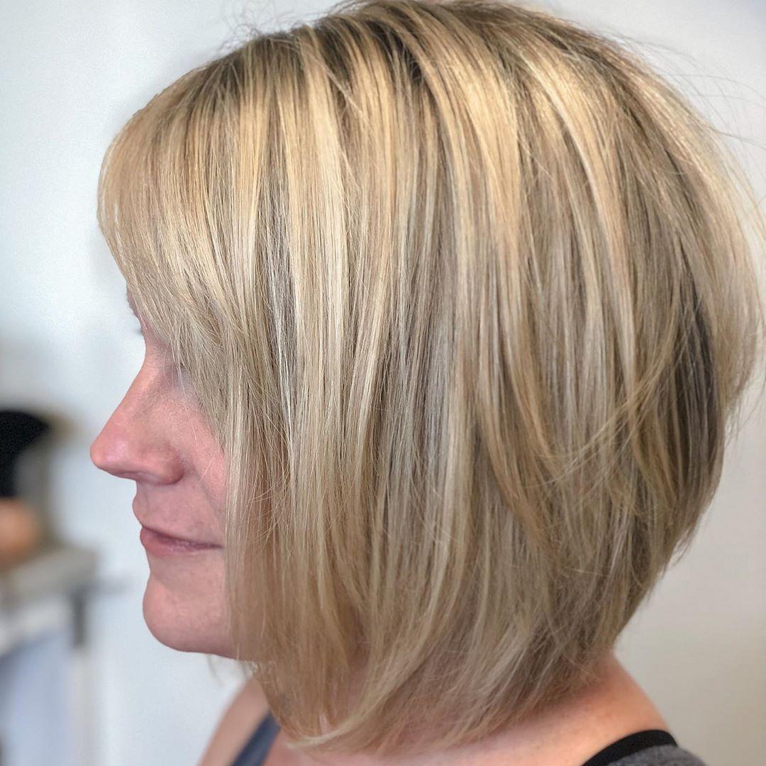 Brown lowlights on blonde hair bob