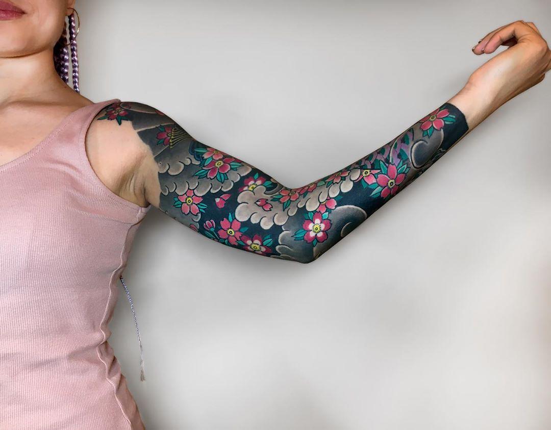 Japanese Floral Sleeve Tattoo