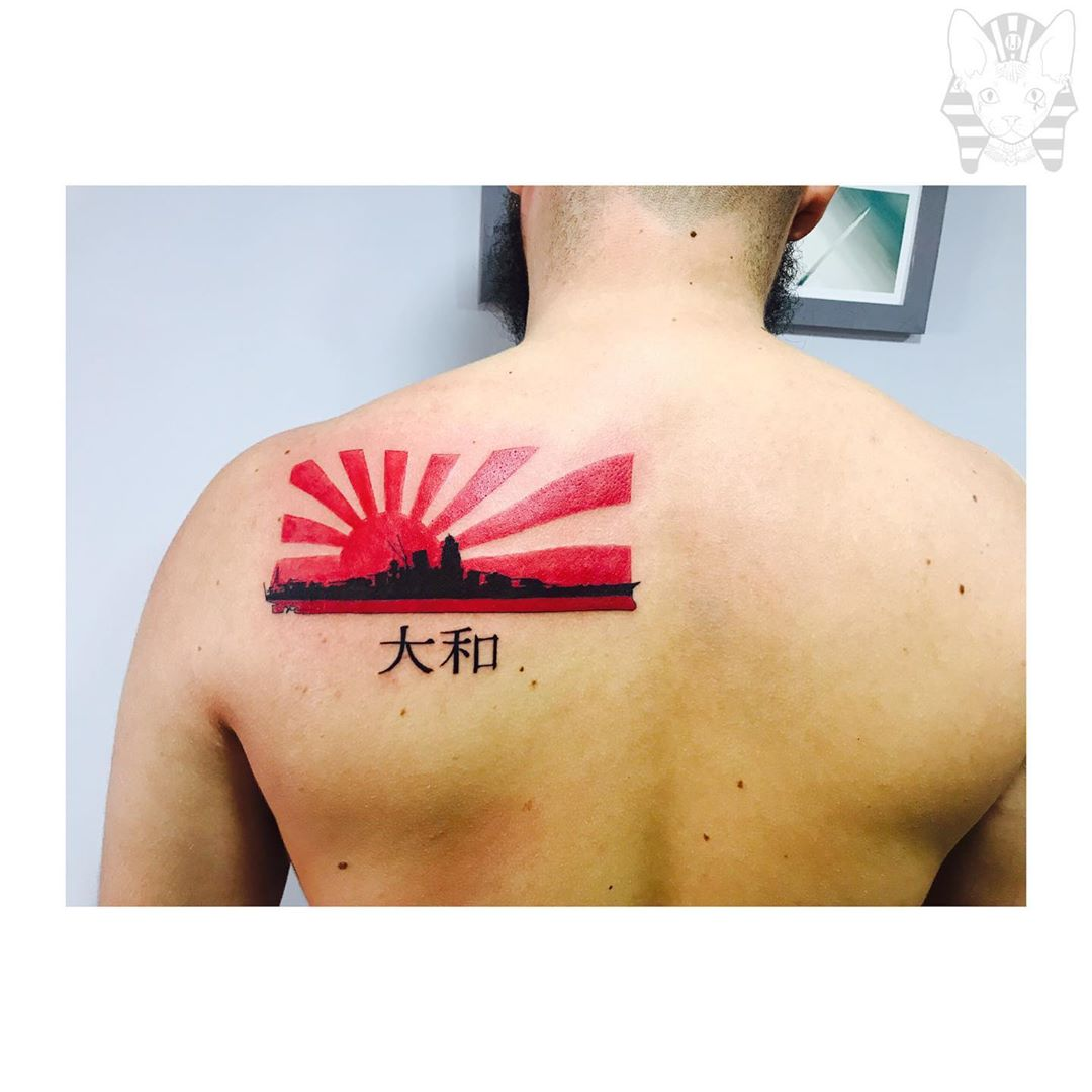 Japanese Landscape Back Tattoo Rising Sun