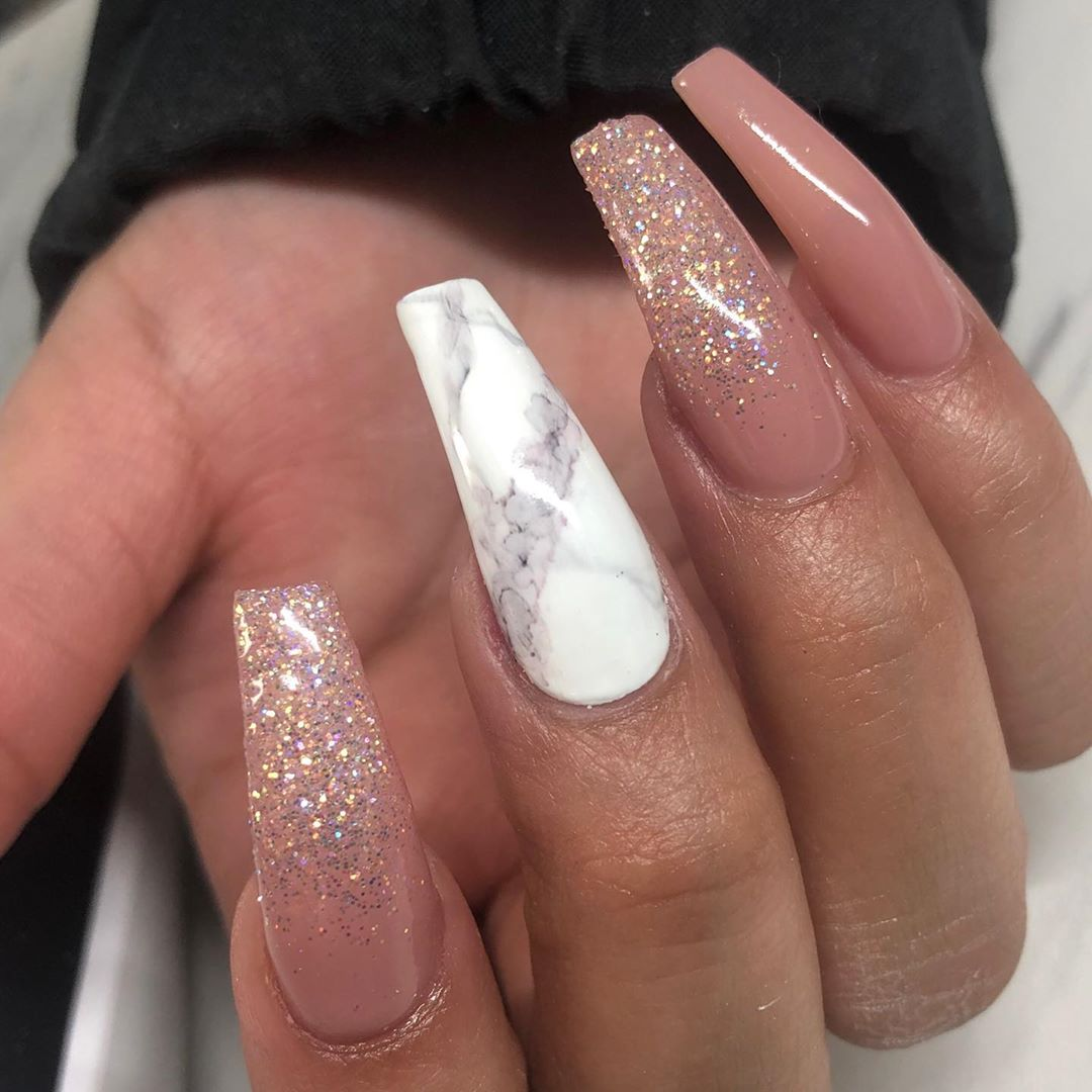 Marble coffin nail designs