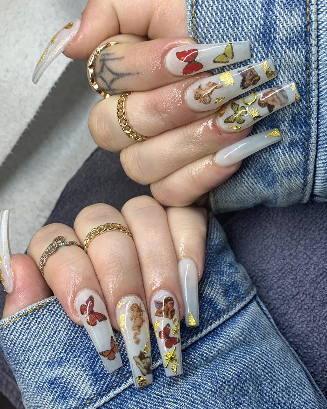 Butterfly coffin nail designs