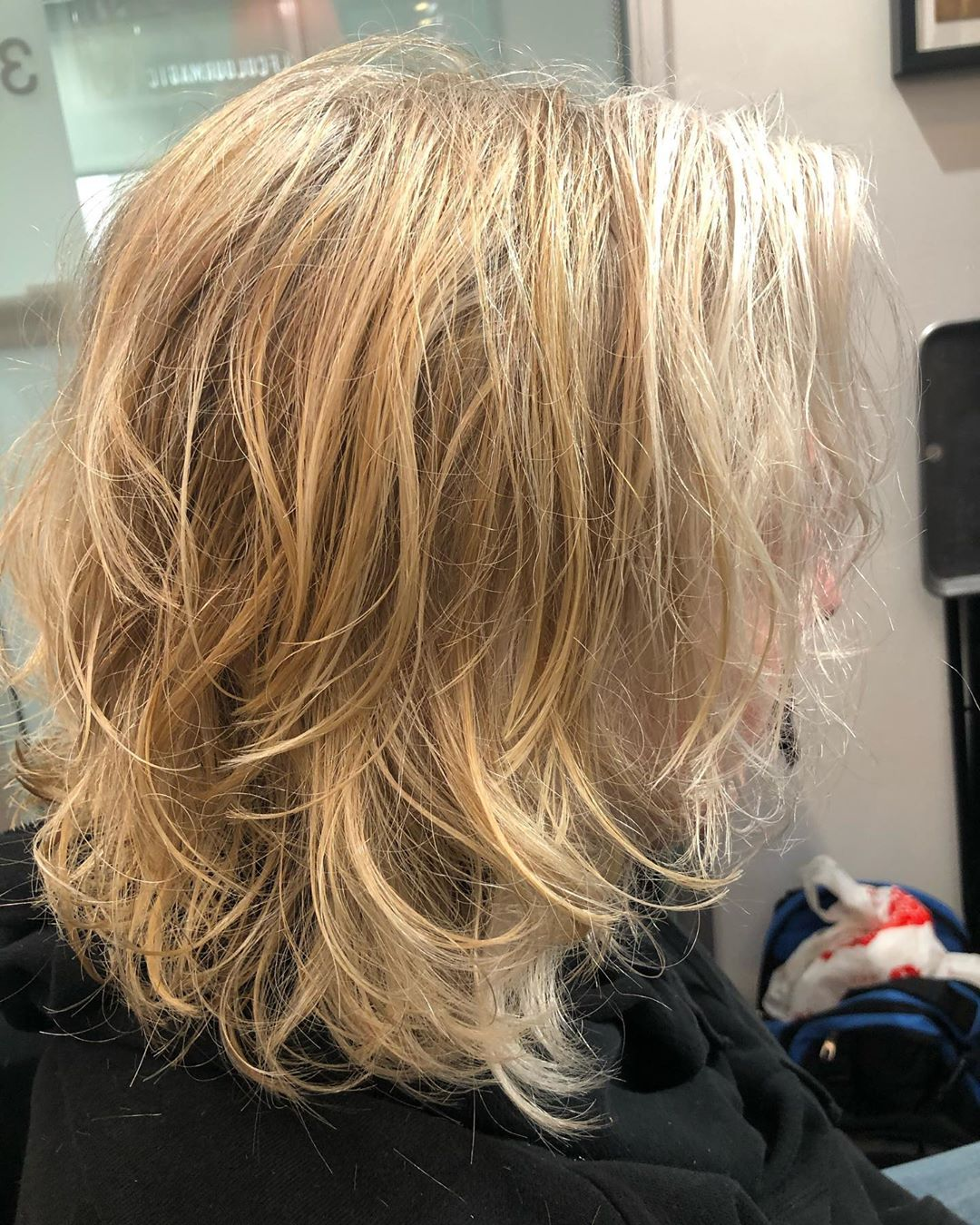 Layered lowlights on blonde hair