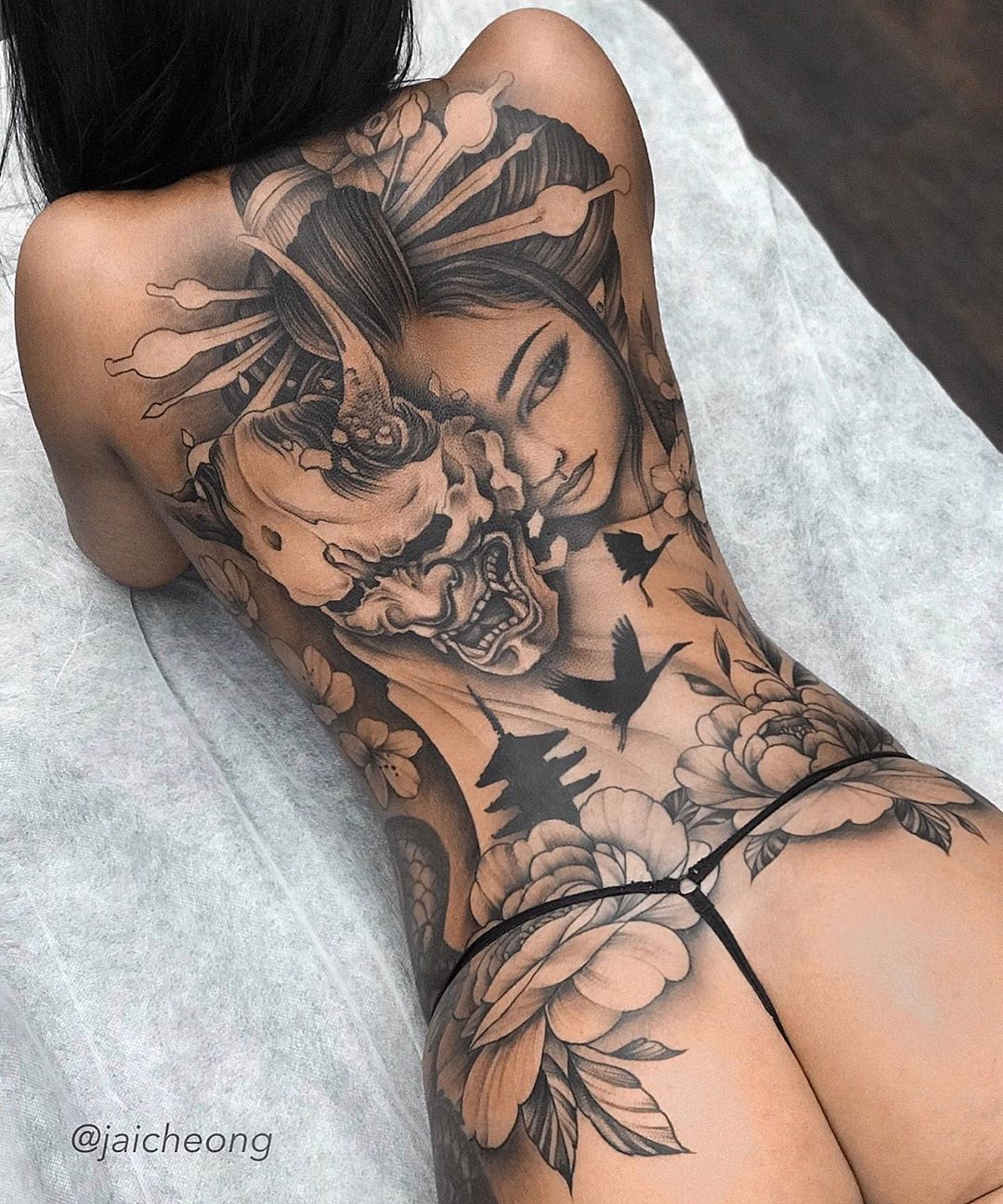 Japanese Women Tattoo with Hannya Mask