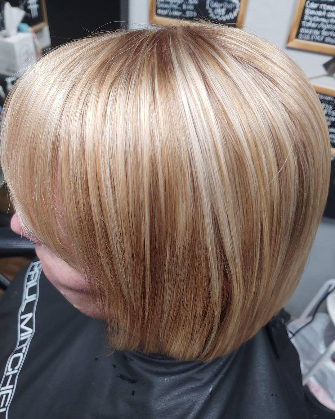 Brown lowlights on strawberry blonde hair