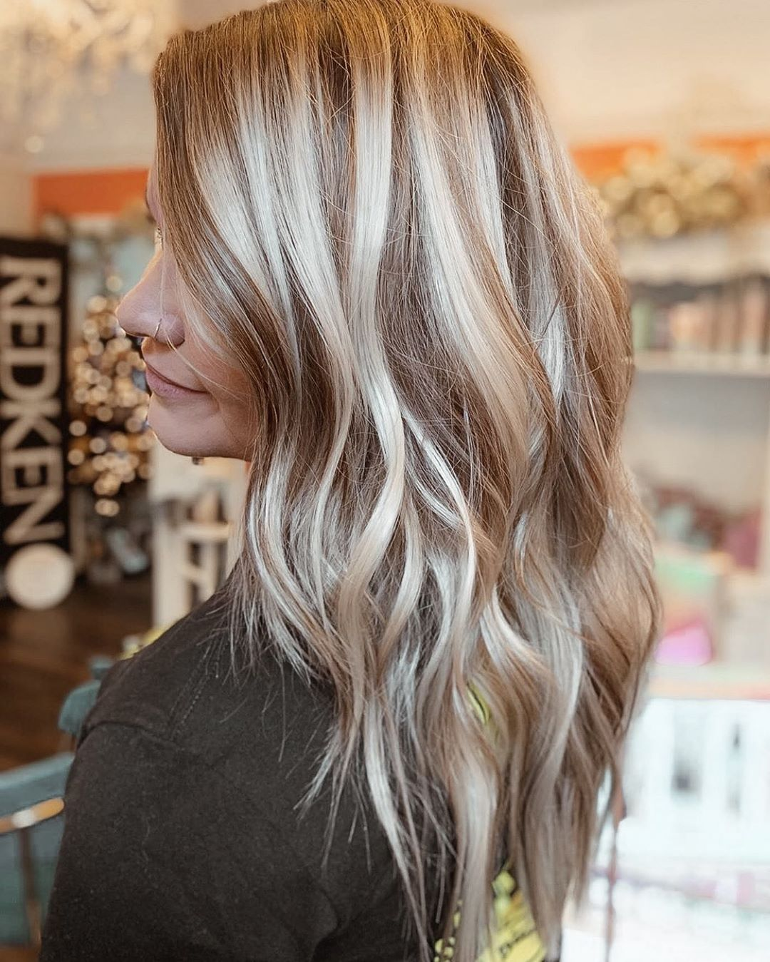 Ashy blonde hair with brown lowlights