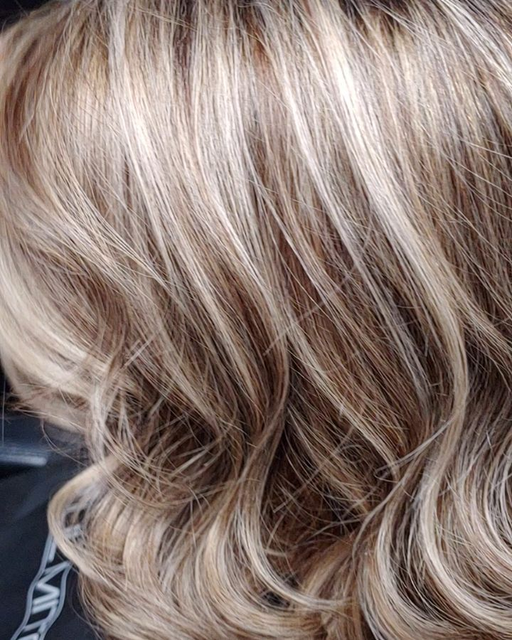 Blonde hair with brown lowlights added