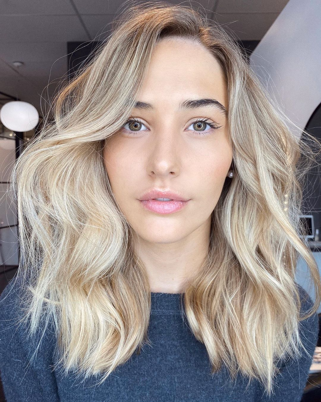 Silver blonde hair with brown lowlights