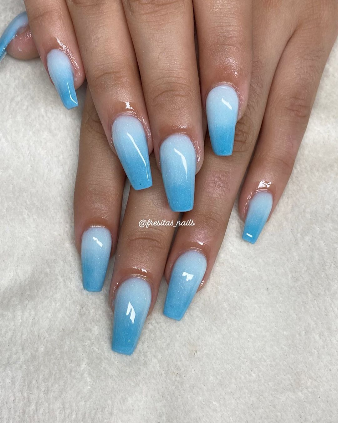 White pale Blue Ombre Nails