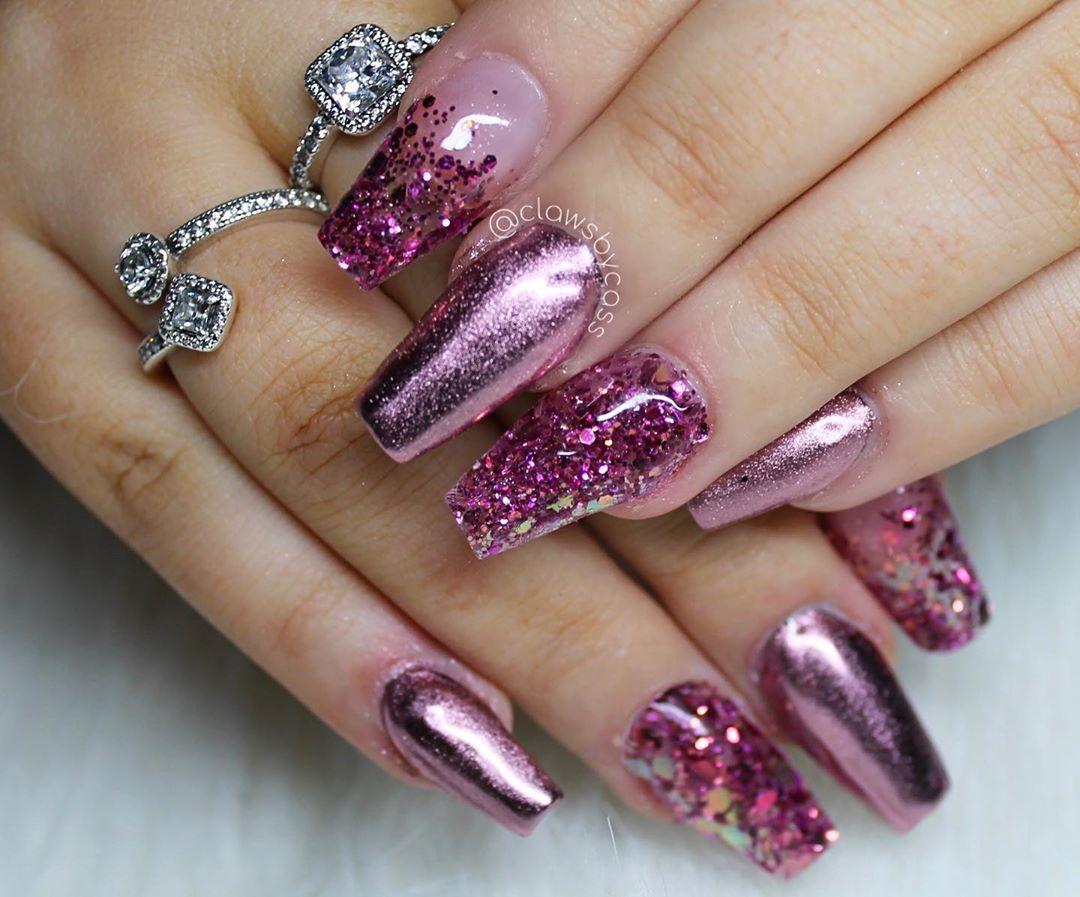 Glitter pink metallic nails