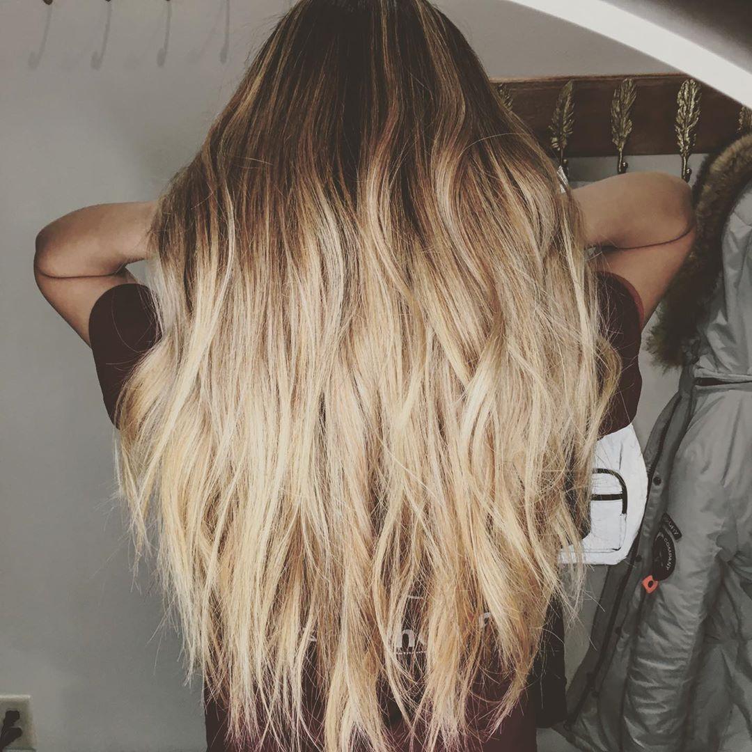 Brown lowlights on long blonde hair