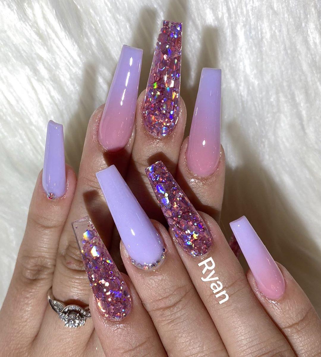 Lavender coffin nail designs