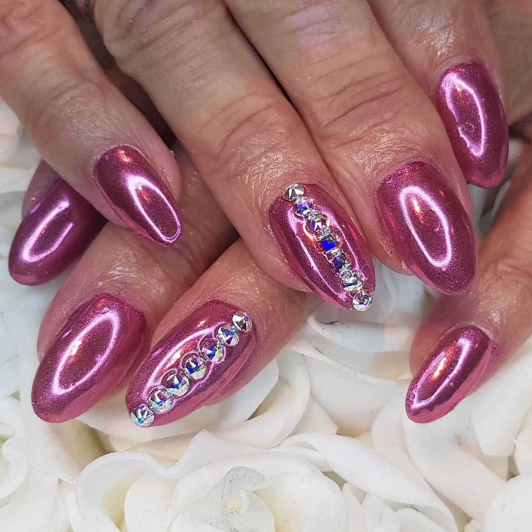 Cosmic pink chrome nails