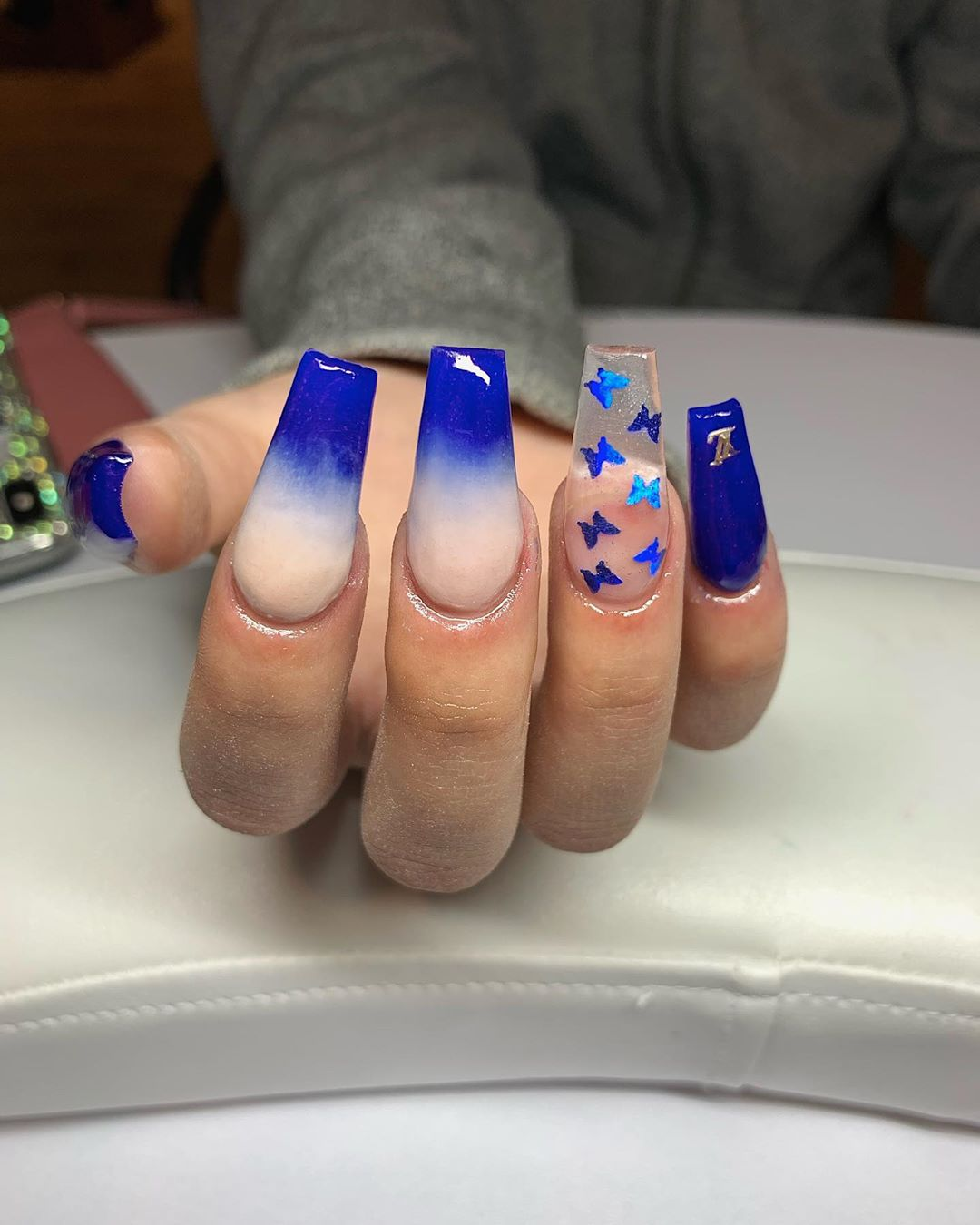 Blue Ombre Nails with Butterfly stickers