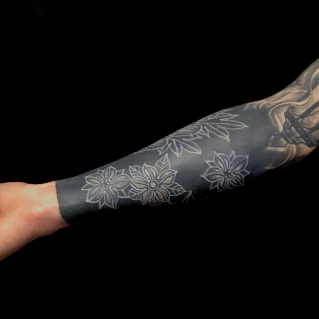 Japanese Black & White Forearm Tattoo