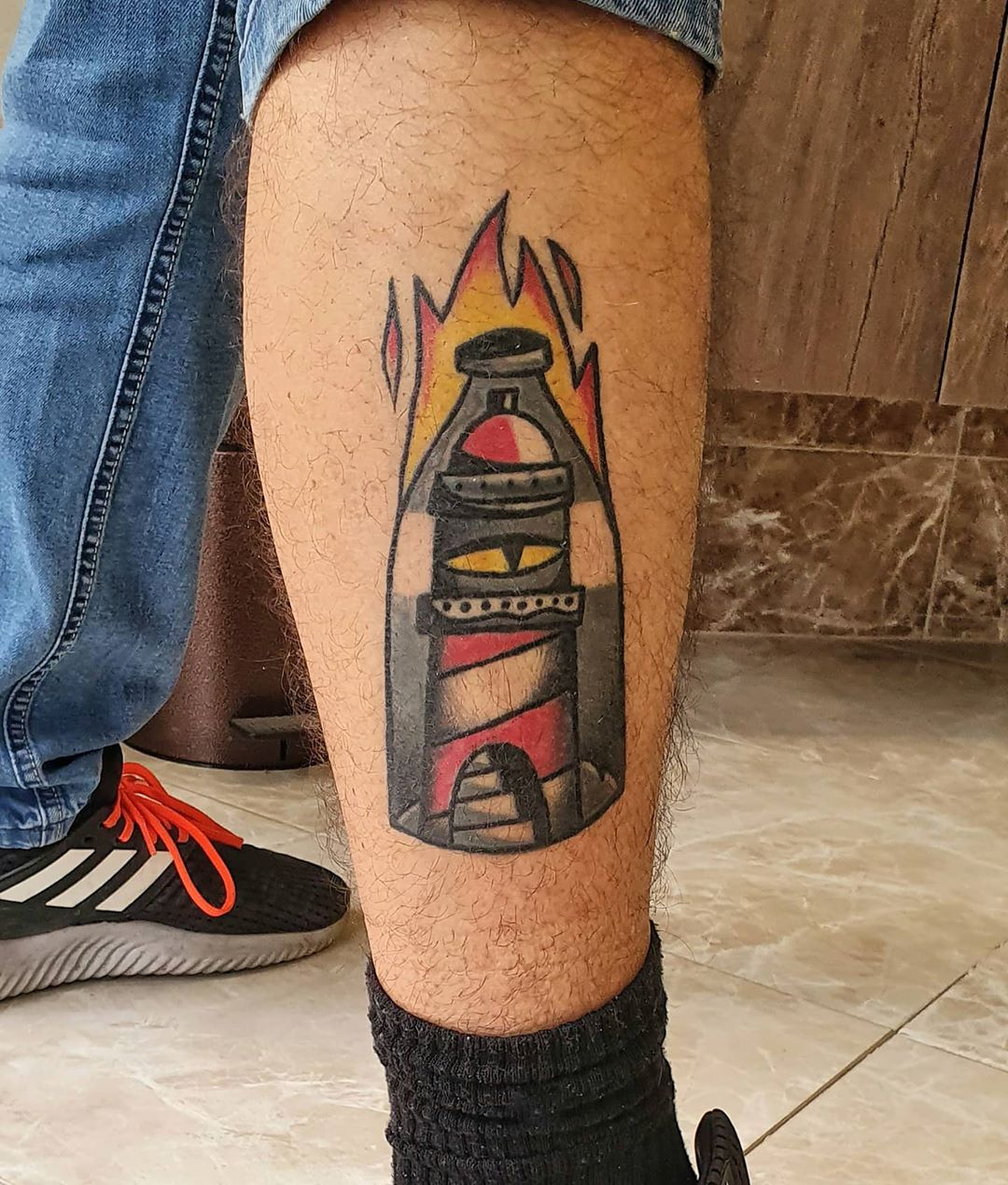 Lighthouse Calf Tattoo