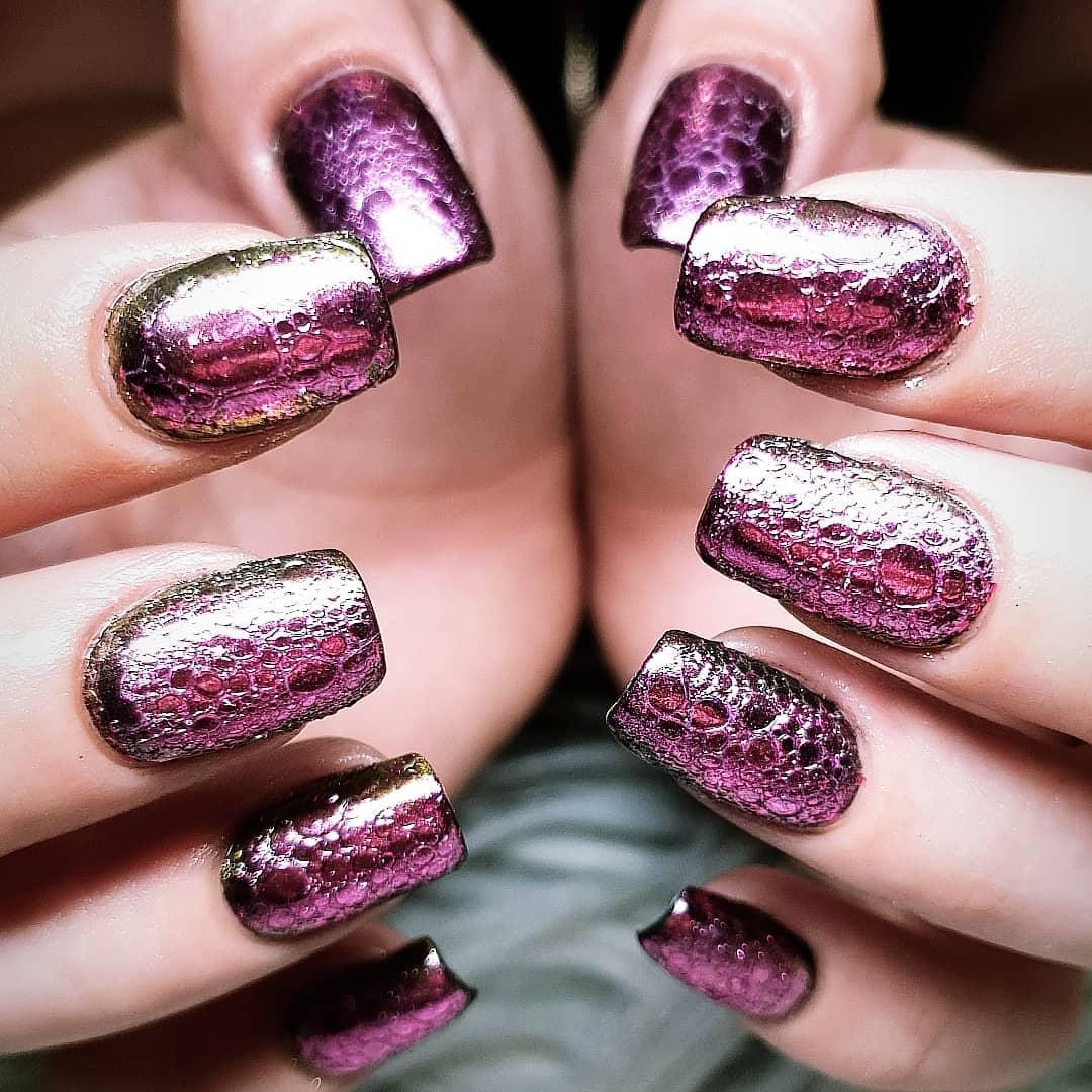 Foil pink chrome nails
