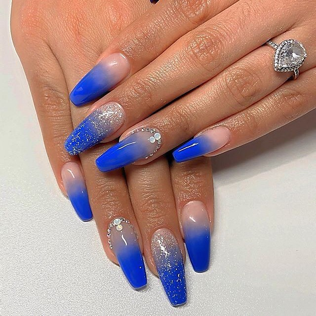 Blue Ombre Nails with Pink ends