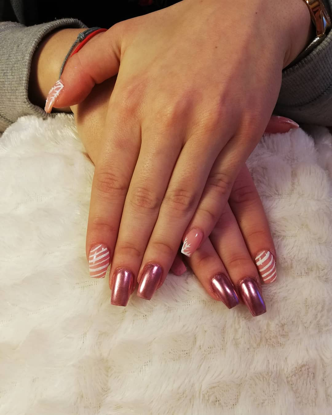Candy stripe pink chrome nails