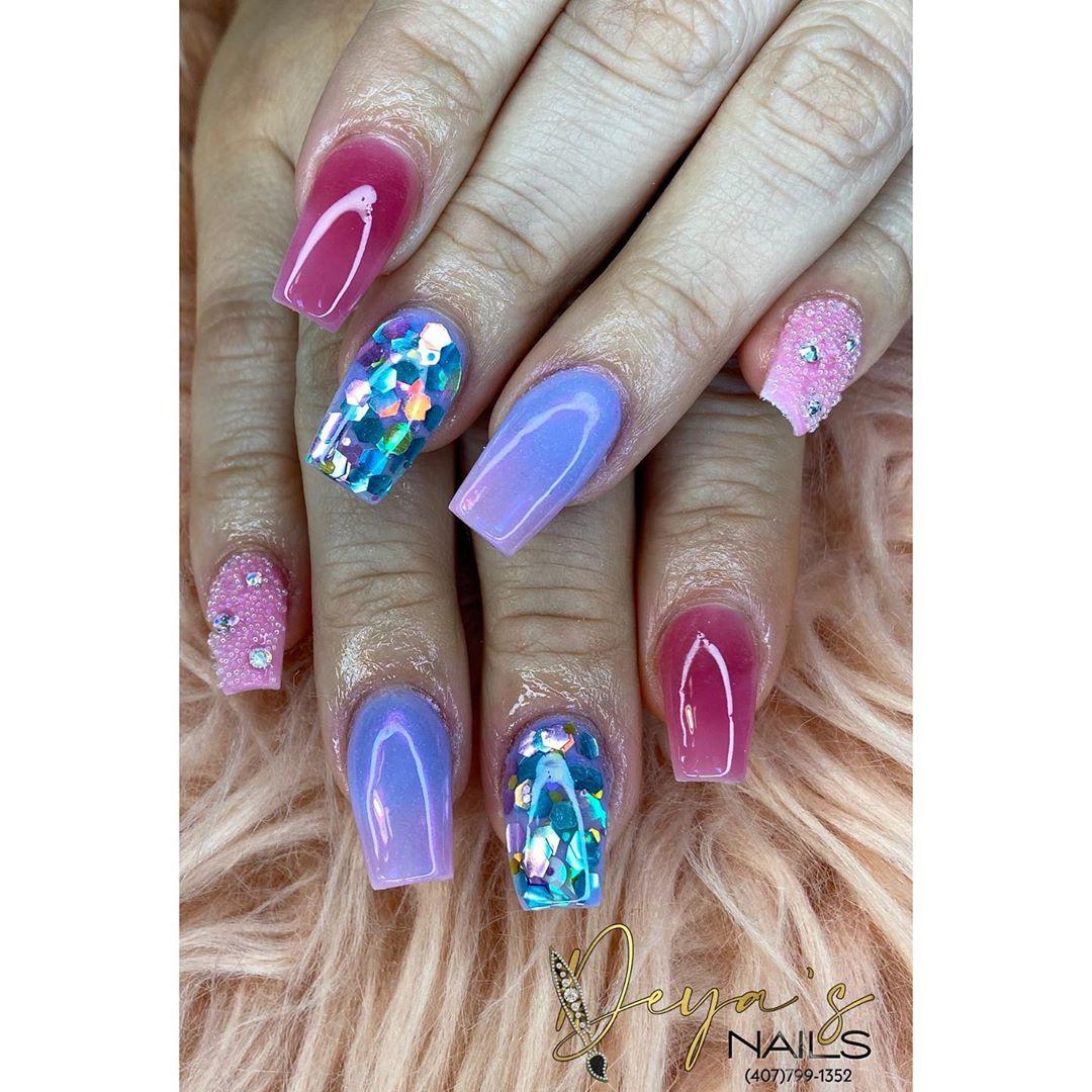 Multi color coffin nail designs