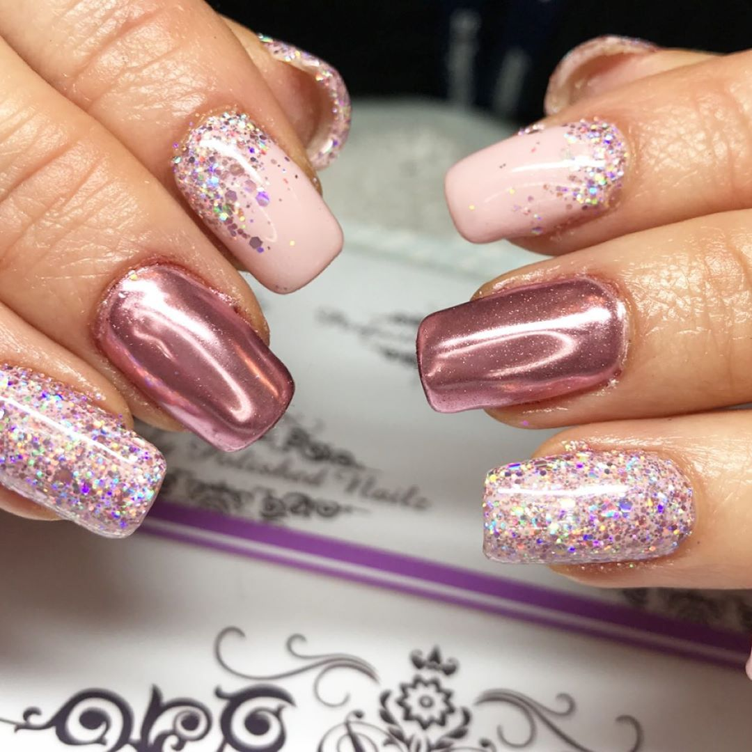 Sugared pink chrome nails