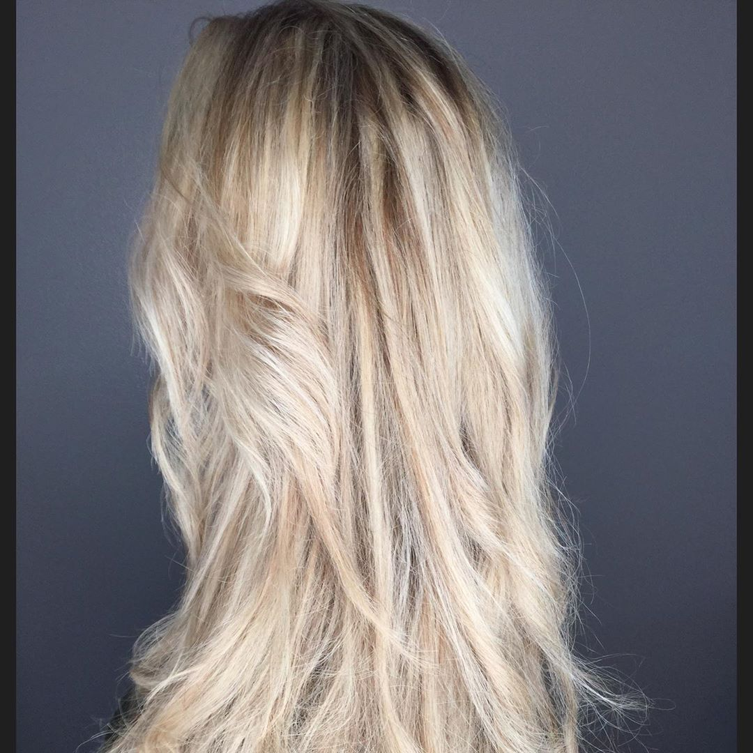 bright blonde hair with brown lowlights added