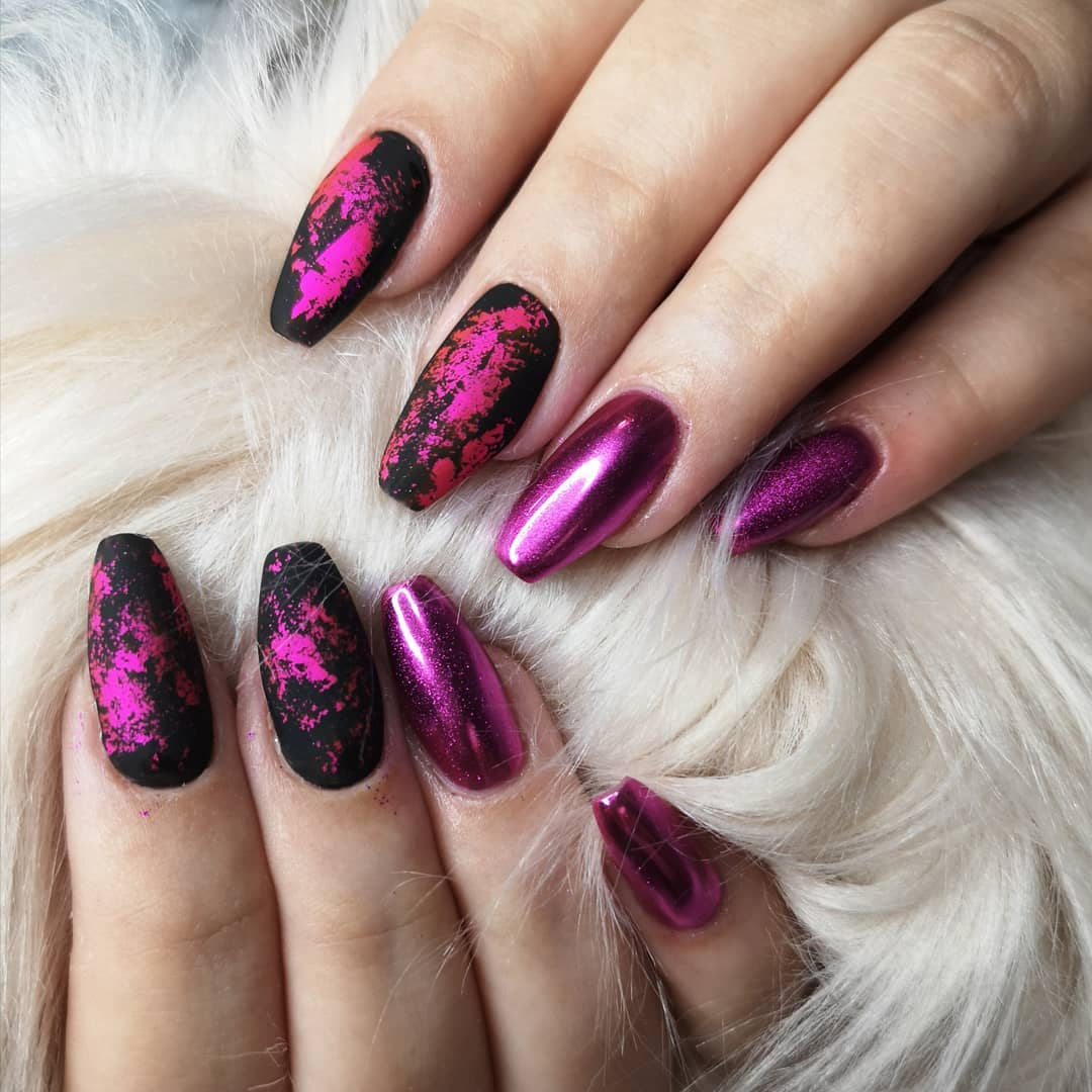Matte black polish with pink chrome nails