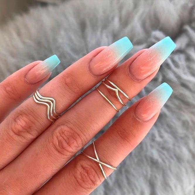 Beachy coffin nail designs