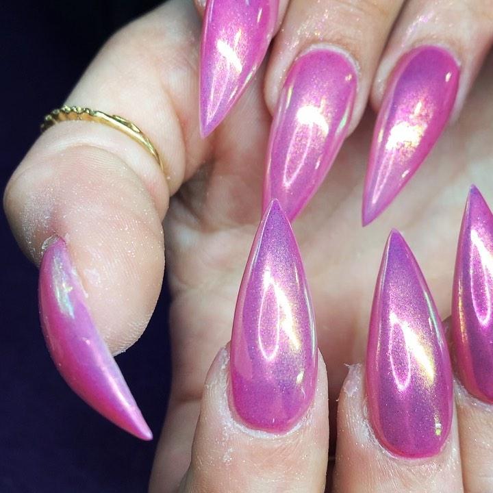 Stiletto Pink Chrome Nails